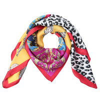 Vierkante zijdezachte sjaal Colorful Leo|Vierkante shawl|Satijn|Rood|Luipaardprint