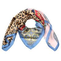 Vierkante zijdezachte blauwe sjaal Colorful Leo|Vierkante shawl|Satijn|Luipaardprint