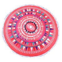 Roundie strandlaken Happy|Beach towel|Badstof|Dikke Kwaliteit|Koraal kleur|Multi colour print