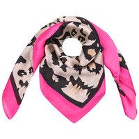 Vierkante zijdezachte sjaal Silky Wild Roze|Vierkante shawl|Satijn|Luipaardprint