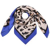 Vierkante zijdezachte sjaal Silky Wild blauw|Vierkante shawl|Satijn|Luipaardprint