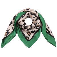 Vierkante zijdezachte sjaal Silky Wild groen|Vierkante shawl|Satijn|Luipaardprint