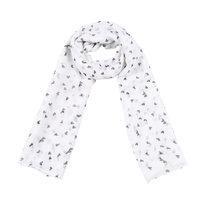 Lange dames sjaal Smashing hearts|Lange shawl|Wit grijs zwart|Hartjes