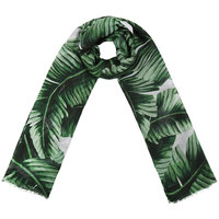 Lange sjaal Jungle Joy|Lange shawl|Groen wit|Tropische bladeren