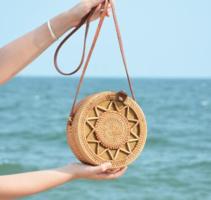 Handgemaakte rotan tas Bali Star|Kleine damestas|Ronde schoudertas