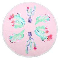 Roundie strandlaken Painted Cacti|Beach towel|Badstof|Roze groen|Cactus print