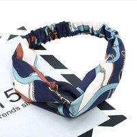 Haarband zijdezacht Elegant|Blauw offwhite bruin|Satijn|Knot