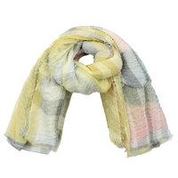 Lange sjaal Check me Out|Lange shawl|Geel roze grijs|Geruit geblokt