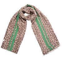 Lange dames sjaal Funky Beast|Lange shawl|Luipaard print|Bruin beige groen