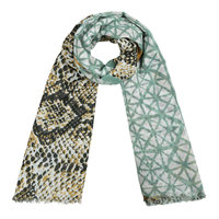 Vierkante dames sjaal Into the Wild|Grote shawl|Slangenprint|Mint groen geel