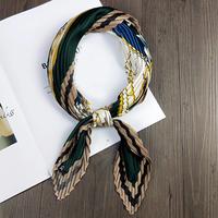 Zijdezachte sjaal Crinkle Forest|Vierkante shawl|Satijn|Groen geel bruin blauw