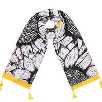 Lange dames sjaal Summer Sunflower|Lange shawl|Geel zwart wit|Zonnebloemenprint