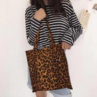 Katoenen shopper Leopard|Boodschappentas canvas schoudertas|Luipaard