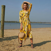 Lange jurk Spring Frangrance|Geel bloemenprint|Zomerjurk