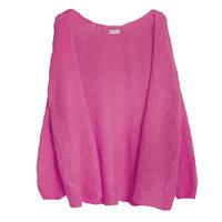 Gebreid fluffy vest Roze|Zacht vest|mohair mix