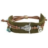 Armband Boho Charm Groen zilver bruin Leder