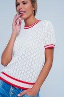 Open gebreide top Geo|Sweater shirt|Wit korte mouwen topje