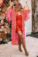 Strandjurk Hot Floral|Tuniek kaftan|Bloemenprint|Roze rood