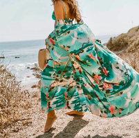 Strand cover-up Spring Flower|Tuniek kaftan|Bloemen print|Groen roze multi