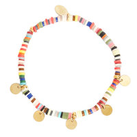Armband Surf with Me|Multi goud|muntjes|Rubber