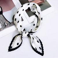 Zijdezachte sjaal Crinkle Dots|Vierkante shawl|Satijn|Zwart wit