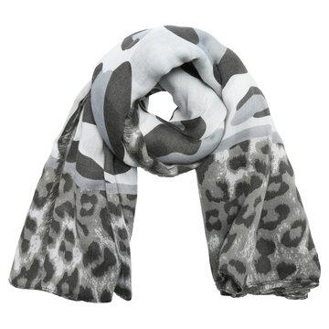 Lange dames sjaal Wild Cat Lange shawl Luipaard Grijs