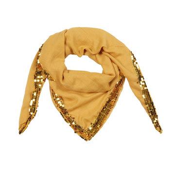 Vierkante dames sjaal Sequin Queen|Vierkante shawl|Glitter geel