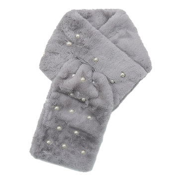 Lange dames sjaal Fur Pearls|faux fur bont|Grijs