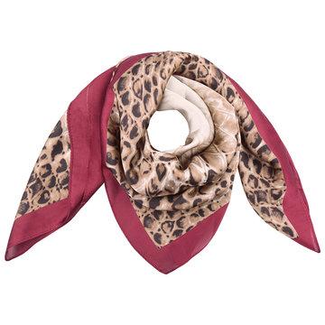 Vierkante zijdezachte sjaal Wild Snake rood|Vierkante shawl|Satijn|Slangenprint