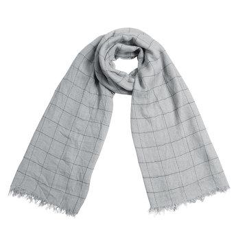 Heren sjaal Block Print|Warme heren shawl|Licht grijs| Geblokt Geruit|Fijne franjes