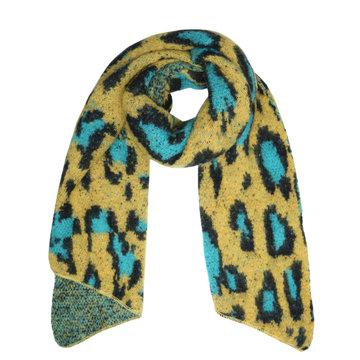 Winter sjaal Leopard Returns|Lange shawl|Luipaard geel blauw