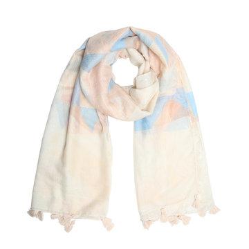 Zachte dames sjaal Pastel Triangle|Lange shawl|Beige Roze Blauw glitter
