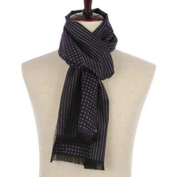 Heren sjaal navy blauw Dots Stripes|Warme heren shawl|Blauw roze|Fijne franjes