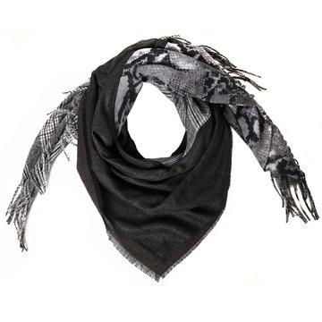 Grote zwarte vierkante sjaal Check my Snake|Slangenprint geruit|Zwart grijs wit