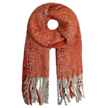 Stoere sjaal Into the Fray|Extra lange dames sjaal|Oranje shawl