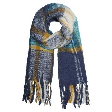 Extra dikke sjaal Keep me Warm|Wintersjaal dames|Blauw geel|Geruit geblokt