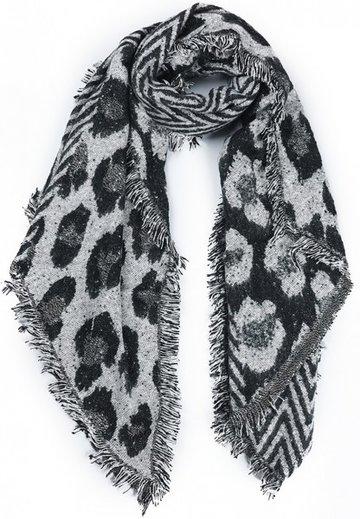 Dames wintersjaal Freaky Leopard|Lange shawl|Extra dikke kwaliteit|Zwart grijs glitter