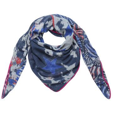 Grote vierkante dames sjaal Happy Stars|Vierkante shawl|Sterrenprint|Blauw roze beige