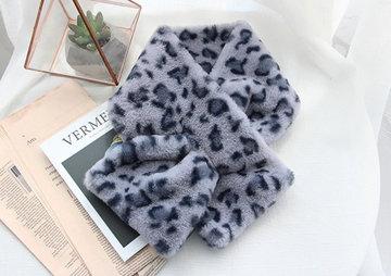 Faux fur lange sjaal Winter Vibes|Grijs|Luipaard print|Nep bont