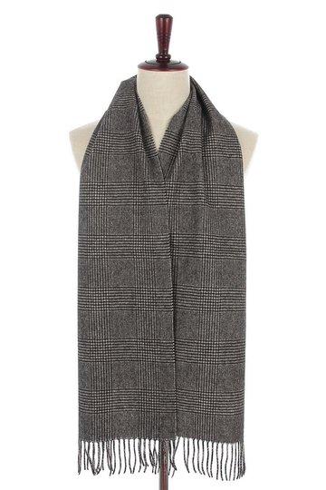 Mooie heren sjaal Pure Check|Wollen shawl|Geruit geblokt|Grijs zwart