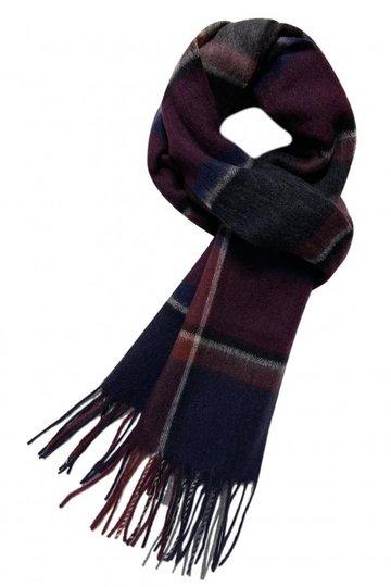 Heren sjaal Happy Red Wollen shawl Geruit geblokt Rood Blauw