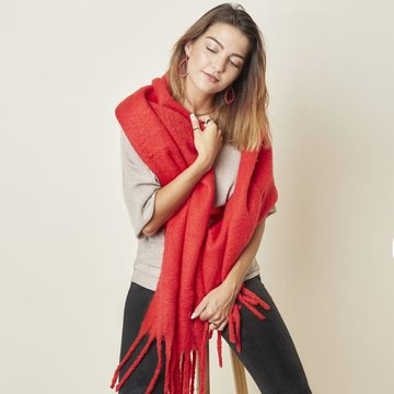 Extra dikke sjaal Solid Colors|Lange shawl|Effen rood