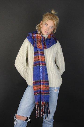 Zachte dames sjaal Cosy Winter|Langwerpige shawl|Koningsblauw|Geruit gestreept