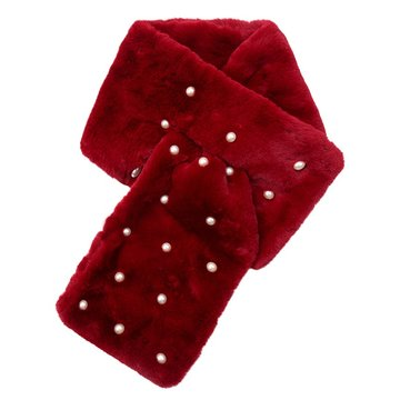 Lange dames sjaal Fur Pearls|faux fur bont|Rood