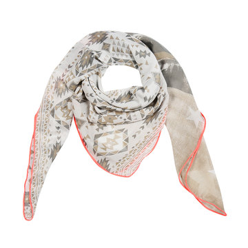 Vierkante dames sjaal Print Parade|Beige roze|Sterren Aztec