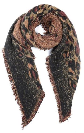 Toffe dames sjaal Leopard Love|Lange dames shawl|Luipaard|Bruin Geel|Franjes
