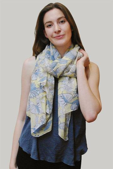 Langwerpige sjaal Layered Leaf|Lange shawl|Bladerprint|Geel Blauw
