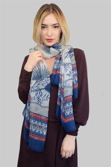 Langwerpige sjaal Boho|Lange shawl|Bladerprint|Rood wit blauw