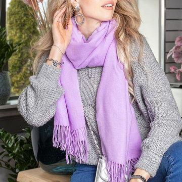 Langwerpige sjaal Chilled|Lange dames shawl|Effen lilapaars
