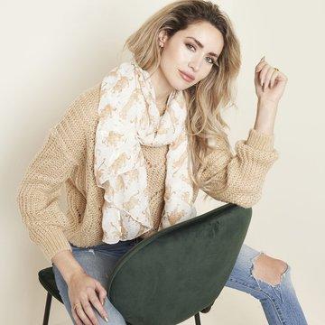 Langwerpige sjaal Footprint|Lange dames shawl|Luipaard|Beige white goud